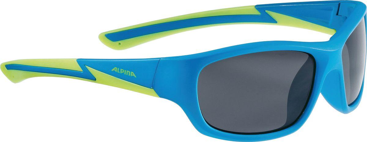 Очки солнцезащитные Alpina Flexxy Youth, цвет: синий, салатовый. 85644818564481Детские очки с линзами, устойчивыми к разбиванию. Градация очков по подростковым, юниорским и детским, а также специальная модель для девочек. Технологии: Optimized airflow, 2 components design, Flexible Frame.