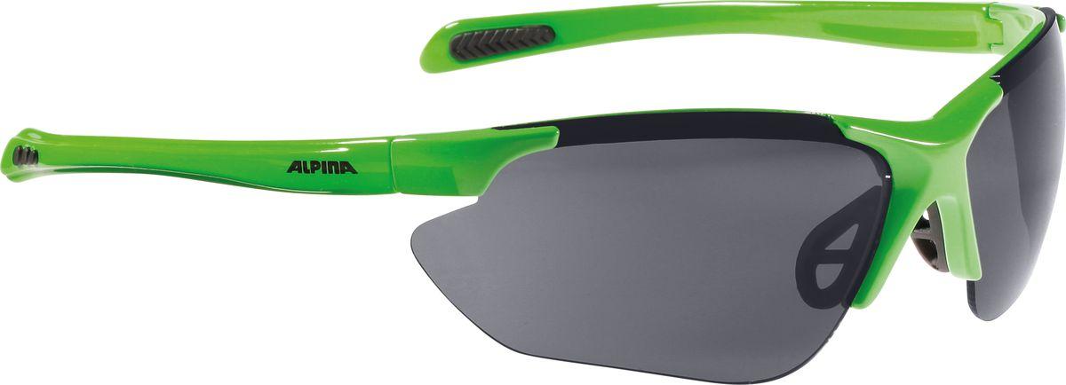 Очки солнцезащитные Alpina Jalix, цвет: зеленый, черный. 85604718560471Очки солнцезащитные Alpina Jalix почти не имеющие оправы. Это придает модели чрезвычайно спортивный вид. Тем не менее они не только на вид спортивные, на деле они пройдут любые испытания на прочность в спорте. Прорезиненная гибкая перегородка для носа и силиконовые наконечники на душках обеспечивают надежную фиксацию. А высококачественные керамические линзы обеспечивают защиту от ультрафиолетового излучения. Степень защиты: S3/