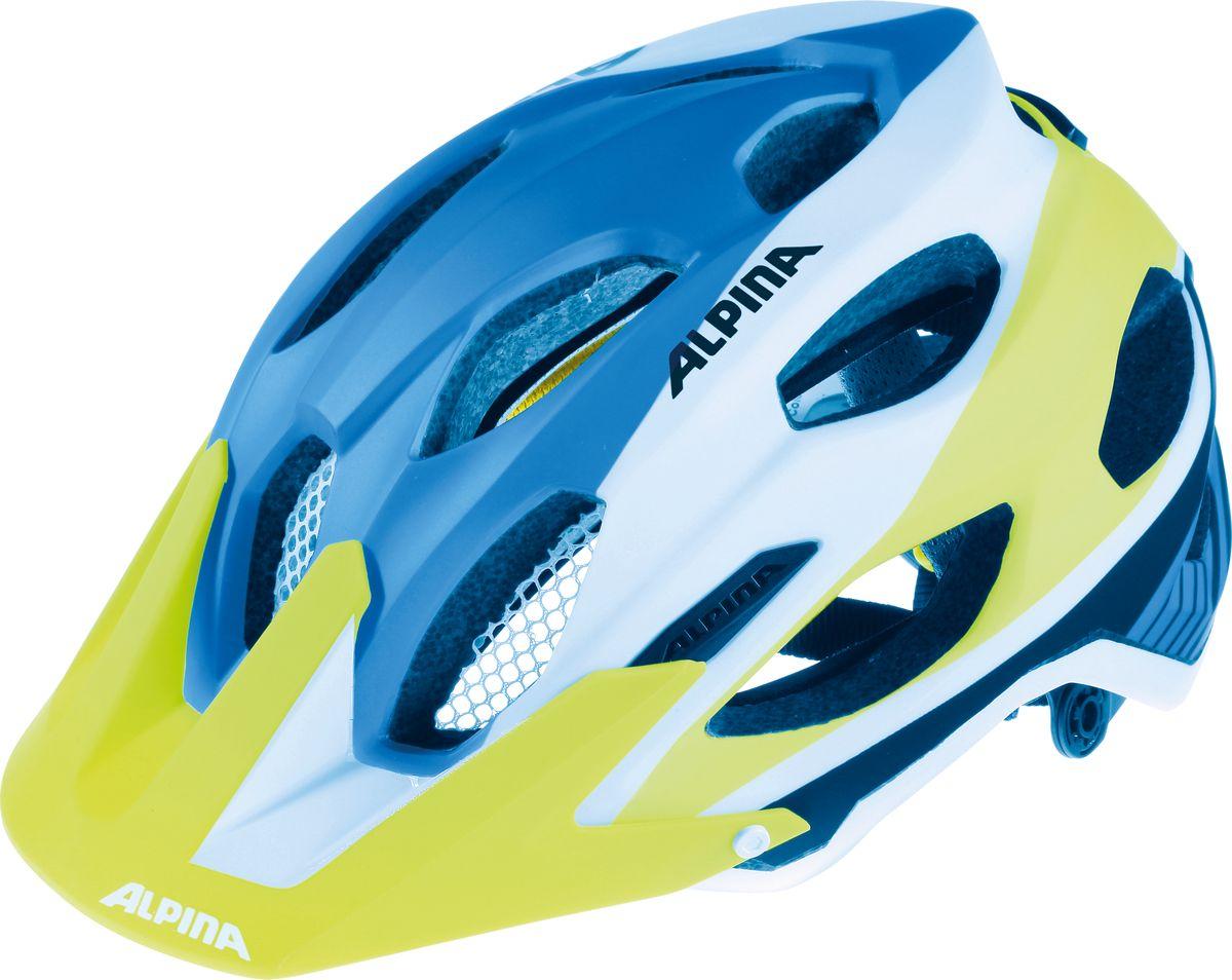 Шлем летний Alpina Carapax, цвет: синий, белый, желтый. A9688185. Размер 53/57A9688185Легкий и безопасный внедорожный шлем. Глубокая посадка, закрывающая затылок, аскетичный дизайн и яркие цвета - все, что вам нужно для эндуро. Технологии: Run System Ergo Pro, Shield Protect Вес: 250 g Кол-во вентиляционных отверстий: 17.