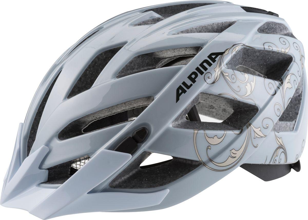 Шлем летний Alpina Panoma Classic, цвет: серебристый. A9703120. Размер 52/57A9703120Классический универсальный велосипедный шлем с превосходной посадкой. Panoma - верный компаньон в ежедневных поездках до работы и выездов по выходным. 23 вентиляционных отверстия. Безопасность: Оболочка Inmold Производственный процесс заключается в нагревании до высокой температуры внешней поликарбонатной оболочки и запекании ее на EPS-тело шлема под высоким давлением. Этот процесс создает неразрывную связь по всей поверхности между внутренней и внешней оболочками, благодаря этому шлем получается не только очень легким, но и чрезвычайно стабильным. Hi-EPS Внутренняя оболочка выполнена из Hi-EPS (вспениный полистирол). Этот материал состоит из множества микроскопических воздушных камер, которые эффективно поглощают силу удара. Hi-EPS обеспечивает оптимальную защиту в сочетании с экстратонкими стенками. Ceramic Материал объединяет несколько преимуществ: устойчив к ударам и царапинам, содержит ультрафиолетовые стабилизаторы и...