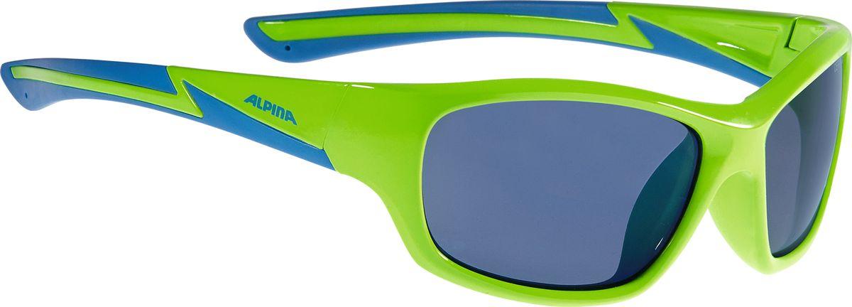Очки солнцезащитные Alpina Flexxy Youth, цвет: салатовый, синий. A8564371A8564371Детские очки с линзами, устойчивыми к разбиванию. Градация очков по подростковым, юниорским и детским, а также специальная модель для девочек. Технологии: Optimized airflow, 2 components design, Flexible Frame.