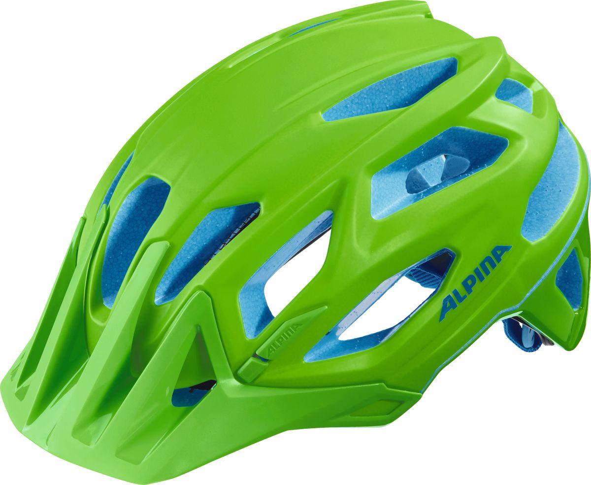 Шлем летний Alpina Garbanzo, цвет: салатовый, синий. A9700172. Размер 53/57A9700172Легкий и аэродинамичный дизайн. Углубленная затылочная часть. Улучшенная система вентиляционных отверстий. Защитная сетка в передней части. Светоотражающие элементы. Система Run Ergo System Pro для регулировки и подгонки шлема по размеру.