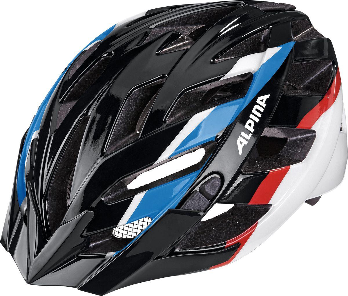 Шлем летний Alpina Panoma, цвет: черный, синий, красный. A9665136. Размер 52/57A9665136Классический универсальный велосипедный шлем с превосходной посадкой. Panoma - верный компаньон в ежедневных поездках до работы и выездов по выходным. 23 вентиляционных отверстия. Безопасность: Оболочка Inmold Производственный процесс заключается в нагревании до высокой температуры внешней поликарбонатной оболочки и запекании ее на EPS-тело шлема под высоким давлением. Этот процесс создает неразрывную связь по всей поверхности между внутренней и внешней оболочками, благодаря этому шлем получается не только очень легким, но и чрезвычайно стабильным. Hi-EPS Внутренняя оболочка выполнена из Hi-EPS (вспениный полистирол). Этот материал состоит из множества микроскопических воздушных камер, которые эффективно поглощают силу удара. Hi-EPS обеспечивает оптимальную защиту в сочетании с экстратонкими стенками. Ceramic Материал объединяет несколько преимуществ: устойчив к ударам и царапинам, содержит ультрафиолетовые стабилизаторы и...