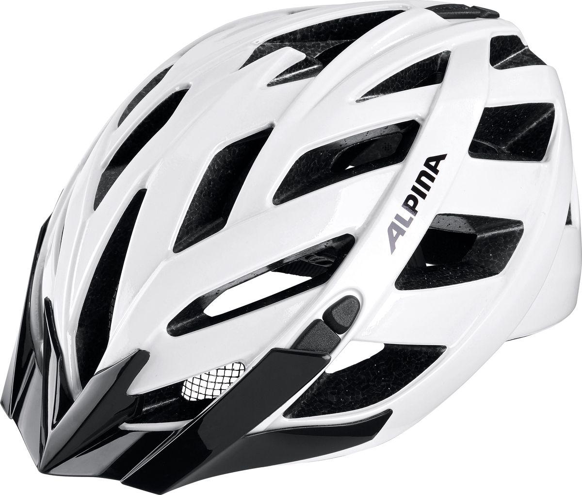 Шлем летний Alpina Panoma Classic, цвет: белый. A9703110. Размер 52/57A9703110Классический универсальный велосипедный шлем с превосходной посадкой. Panoma - верный компаньон в ежедневных поездках до работы и выездов по выходным. 23 вентиляционных отверстия. Безопасность: Оболочка Inmold Производственный процесс заключается в нагревании до высокой температуры внешней поликарбонатной оболочки и запекании ее на EPS-тело шлема под высоким давлением. Этот процесс создает неразрывную связь по всей поверхности между внутренней и внешней оболочками, благодаря этому шлем получается не только очень легким, но и чрезвычайно стабильным. Hi-EPS Внутренняя оболочка выполнена из Hi-EPS (вспениный полистирол). Этот материал состоит из множества микроскопических воздушных камер, которые эффективно поглощают силу удара. Hi-EPS обеспечивает оптимальную защиту в сочетании с экстратонкими стенками. Ceramic Материал объединяет несколько преимуществ: устойчив к ударам и царапинам, содержит ультрафиолетовые стабилизаторы и...