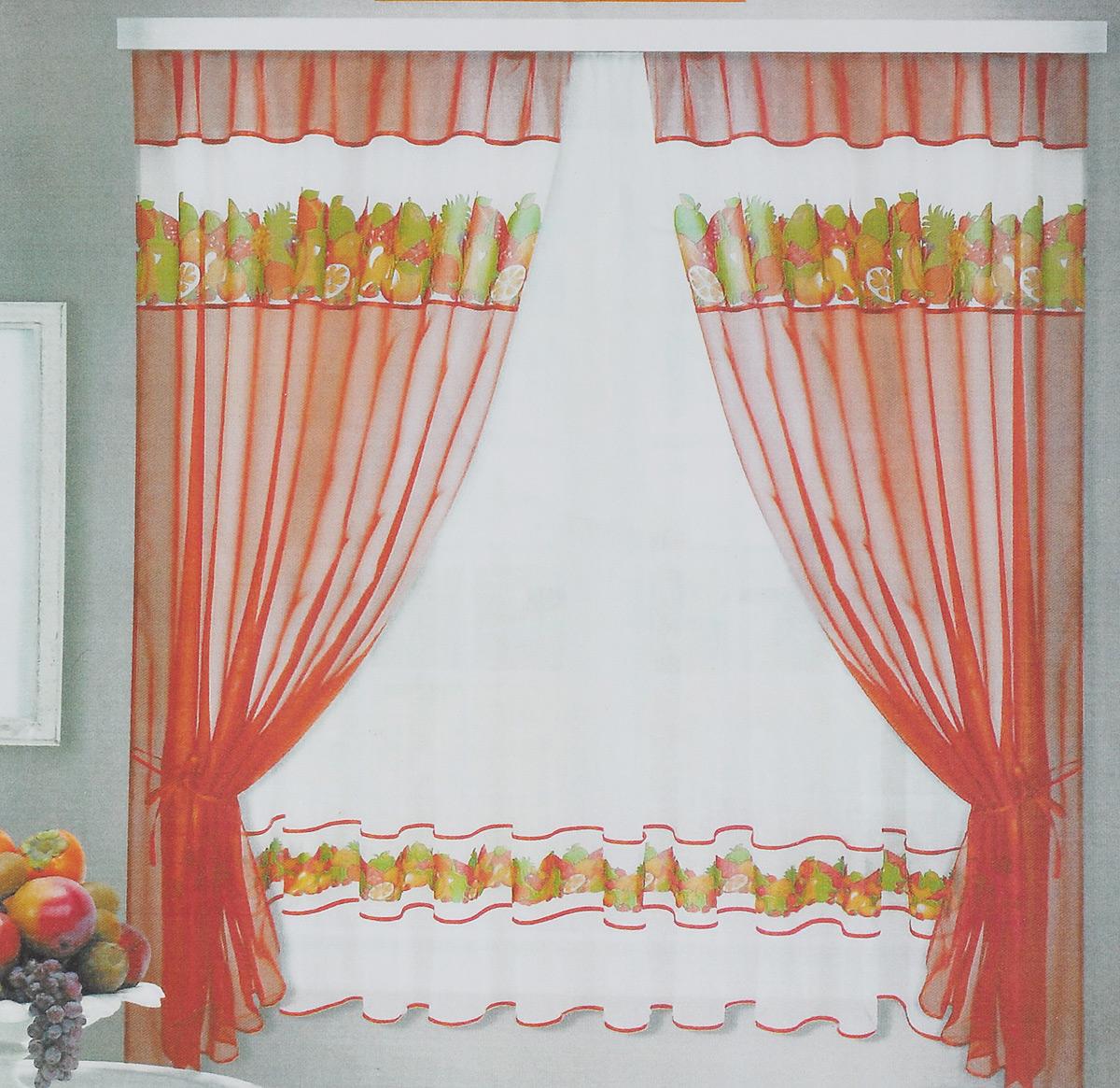 Комплект штор для кухни Фруктовая поляна, на ленте, цвет: светло-коричневый, белый, 5 предметов86157_светло-коричневыйКомплект штор для кухни Фруктовая поляна, на ленте, цвет: светло-коричневый, белый, 5 предметов