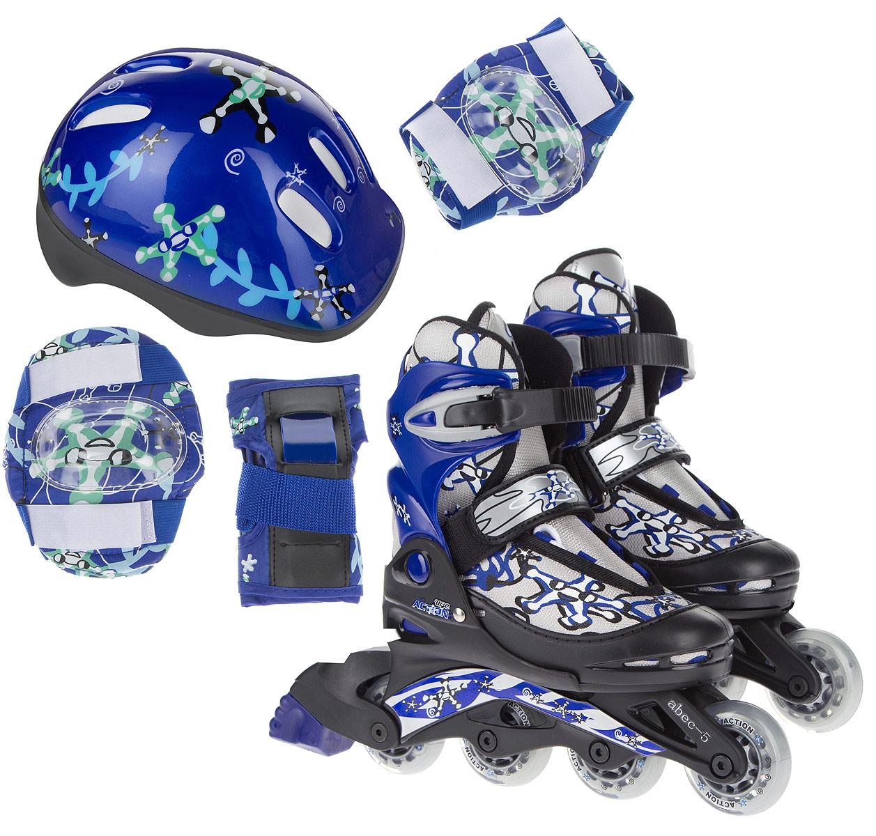 Набор Action: коньки роликовые, защита, шлем, цвет: синий, серый, черный, светло-зеленый, белый. PW-780. Размер 34/37PW-780Набор для катания на роликах Action состоит из роликовых коньков, защиты (колени, локти, запястья) и шлема. Ботинок конька изготовлен из текстильного материла со вставкам из искусственной кожи, обеспечивающих максимальную вентиляцию ноги. Облегченная конструкция ботинка из пластика обеспечивает улучшенную боковую поддержку и полный контроль над движением. Изделие по верху декорировано оригинальным принтом. Подкладка из мягкого текстиля комфортна при езде. Стелька изготовлена из ЭВА материала с текстильной верхней поверхностью. Классическая шнуровка с ремнем на липучке обеспечивает плотное закрепление пятки. На голенище модель фиксируется клипсой с фиксатором. Прочная рама из полипропилена отлично передает усилие ноги и позволяет быстро разгоняться. Полиуретановые колеса обеспечат плавное и бесшумное движение. Износостойкие подшипники класса ABEC-5 наименее восприимчивы к попаданию влаги и песка. Задник оснащен широкой текстильной петлей, благодаря которой изделие удобно обувать....