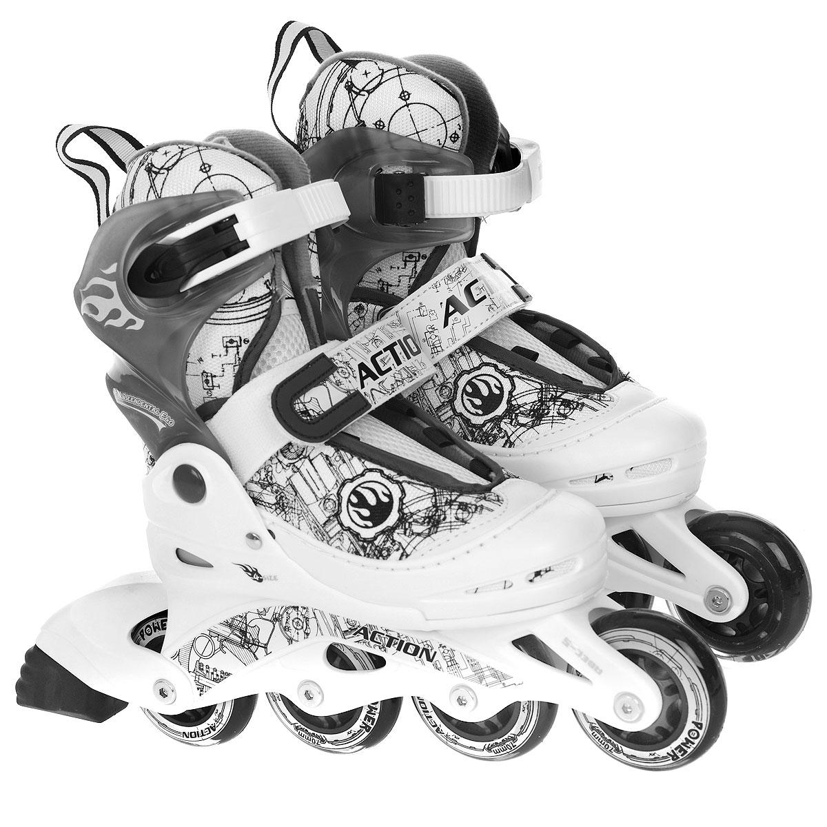 Коньки роликовые Action, раздвижные, цвет: белый, серый. PW-118. Размер 38/41PW-118Раздвижные роликовые коньки Action с мягким ботинком предназначены для любительского катания. Коньки имеют мягкий ботинок с раздвижным механизмом, что обеспечивает хорошую посадку и пластичность, а для еще более комфортного катания ботинки коньков оснащены классической системой шнуровки, клипсой с фиксатором, ремешком на липучке и пяточным ремнем. Облегченная, анатомически облегающая конструкция обеспечивает улучшенную боковую поддержку и полный контроль над движением. Стельки роликов выполнены из двух материалов: базовый для обеспечения формы стельки; дополнительный - покрытие стельки мягким материалом для удобного одевания и комфорта. Рама изготовлена из пластика, а колеса из полиуретана с карбоновыми подшипниками ABEC5. В каждой модели роликов есть тормоз. Роликовые коньки - это прекрасная возможность активного время провождения, отличный способ снять напряжение после трудового дня, пообщаться с друзьями, завести новые знакомства и повысить свою самооценку. При...
