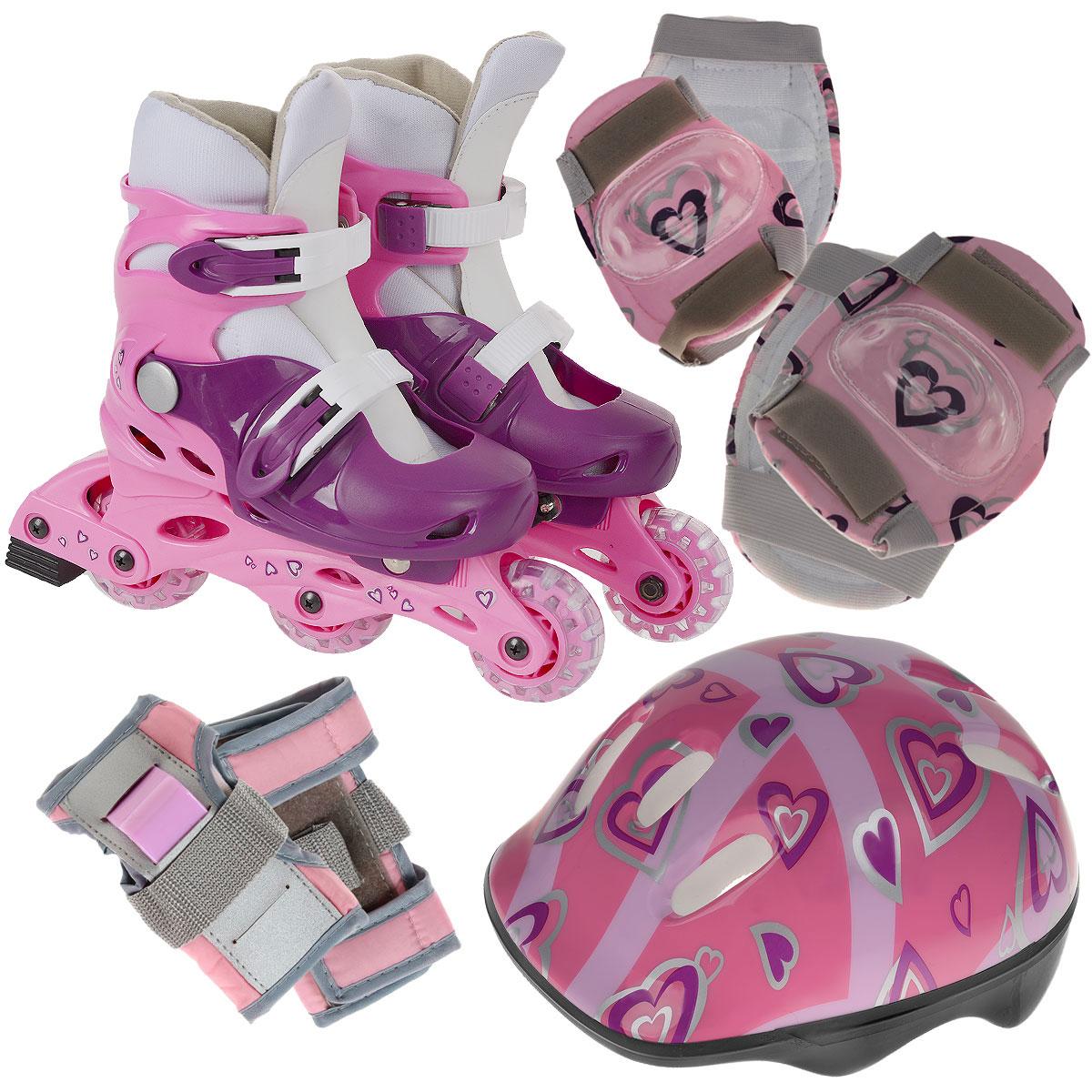 Комплект Action: коньки роликовые, защита, шлем, цвет: розовый. PW-120P. Размер 35/38PW-120PРаздвижные коньки Action - это роликовые коньки любительского класса для детей и постоянно растущих подростков, предназначены для занятий спортом и активного отдыха. Коньки имеют пластиковый ботинок со съемным сапожком с раздвижным механизмом, что обеспечивает хорошую посадку и пластичность, а для еще более комфортного катания ботинки коньков оснащены двумя клипсами с фиксаторами. Облегченная, анатомически облегающая конструкция обеспечивает улучшенную боковую поддержку и полный контроль над движением. Рама изготовлена из пластика, а колеса из полиуретана с 608Z. Диаметр колес 64 мм. В каждой модели роликов есть тормоз. К роликам прилагается полный комплект защиты: шлем (из плотного пенопласта с верхним покрытием из пластика), защита рук, коленей, локтей. Двухкомпонентная система с внутренними вставками поглощает энергию удара, снимает нагрузку с суставов и снижает риск получения травм. Все это упаковано в специальную сумку-переноску с прозрачными окном. ...
