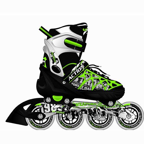 Коньки роликовые Action, раздвижные, цвет: черный, салатовый, белый. PW-153. Размер 40/43PW-153Коньки имеют мягкий ботинок с раздвижным механизмом, что обеспечивает хорошую посадку и пластичность, а для еще более комфортного катания ботинки коньков оснащены классической системой шнуровки, клипсой с фиксатором и ремешком на липучке. Облегченная, анатомически облегающая конструкция обеспечивает улучшенную боковую поддержку и полный контроль над движением. Ботинок: мягкий, армированный каркасом из жесткого полиуретана. Материал внешний: мягкая синтетическая ткань с легким ворсом, EVA (этил-винил-ацетат). Материал внутренний: вельвет. Материал рамы: алюминий. Тип подшипника: ABEC-5. Количество колес: 4 шт. Материал колес: полиуретан. Диаметр колеса: 76 мм. Жесткость колеса: 82А. Тип фиксации: классическая шнуровка, клипса, липучка. Максимальный вес пользователя: 90 кг. Вид использования: любительское катание на роликовых коньках.