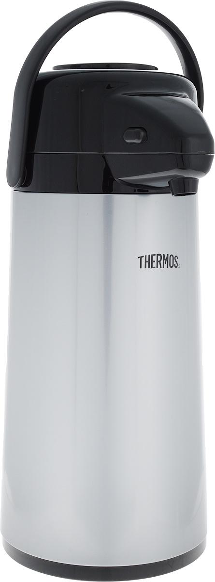 Термос Thermos, цвет: серый, черный, 1,9 л846372Термос Thermos, изготовленный из нержавеющей стали, оснащен внутренней стеклянной колбой с двойными стенками. Термос является простым в использовании, экономичным и многофункциональным. Изделие оснащено удобной ручкой и помповым насосом. Термос предназначен для хранения горячих и холодных напитков (чая, кофе) и укомплектован крышкой с кнопкой. Такая крышка удобна в использовании и позволяет, не отвинчивая ее, наливать напитки после простого нажатия. Легкий и прочный термос Thermos сохранит ваши напитки горячими или холодными надолго. Диаметр: 4,5 см. Высота: 36 см.