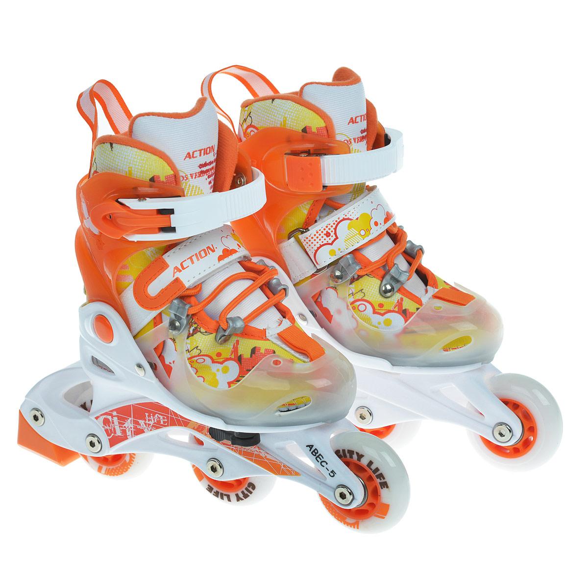 Коньки роликовые Action, раздвижные, цвет: оранжевый. PW-116. Размер 26/29PW-116Мягкий ботинок, шасси: пластик (цветной), подшипник ABEC-5. Колеса - полиуретан. Материал подкладки - EVA. Цвет - оранжевый/белый/желтый, тормоз - оранжевый. Эта модель снабжена специальным комплектом для перестановки среднего колеса на задний ряд, что придает ноге дополнительную устойчивость. Для тех, кто любит активный отдых, самым подходящим вариантом являются катание на роликах. Этот вид спорта пользуется большой популярностью не только у детей и молодежи, но и у достаточно взрослых людей, которые заботятся о своем здоровье и хотят сохранить свою фигуру в хорошей физической форме. Кроме этого, катание на роликах – это огромное удовольствие, которое заряжает энергией, дарит море положительных эмоций и ощущение радости. Если раньше катание на роликовых коньках считалось детским развлечением, то сегодня им увлекаются в разном возрасте, поскольку оздоровительный эффект от катания на роликовых коньках намного выше, чем от бега и езды на велосипеде. Отличительной особенностью детского...
