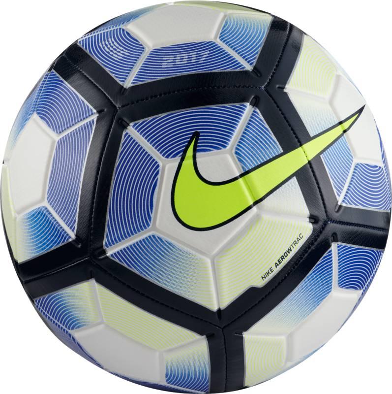 Мяч футбольный Nike Strike Football, цвет: синий, белый, черный. Размер 5SC2983-103Мяч Nike Strike идеально подходит для ежедневных игр. Благодаря графике Visual Power его легко отслеживать на поле, а укрепленная резиновая камера обеспечивает упругость и сохранение формы.
