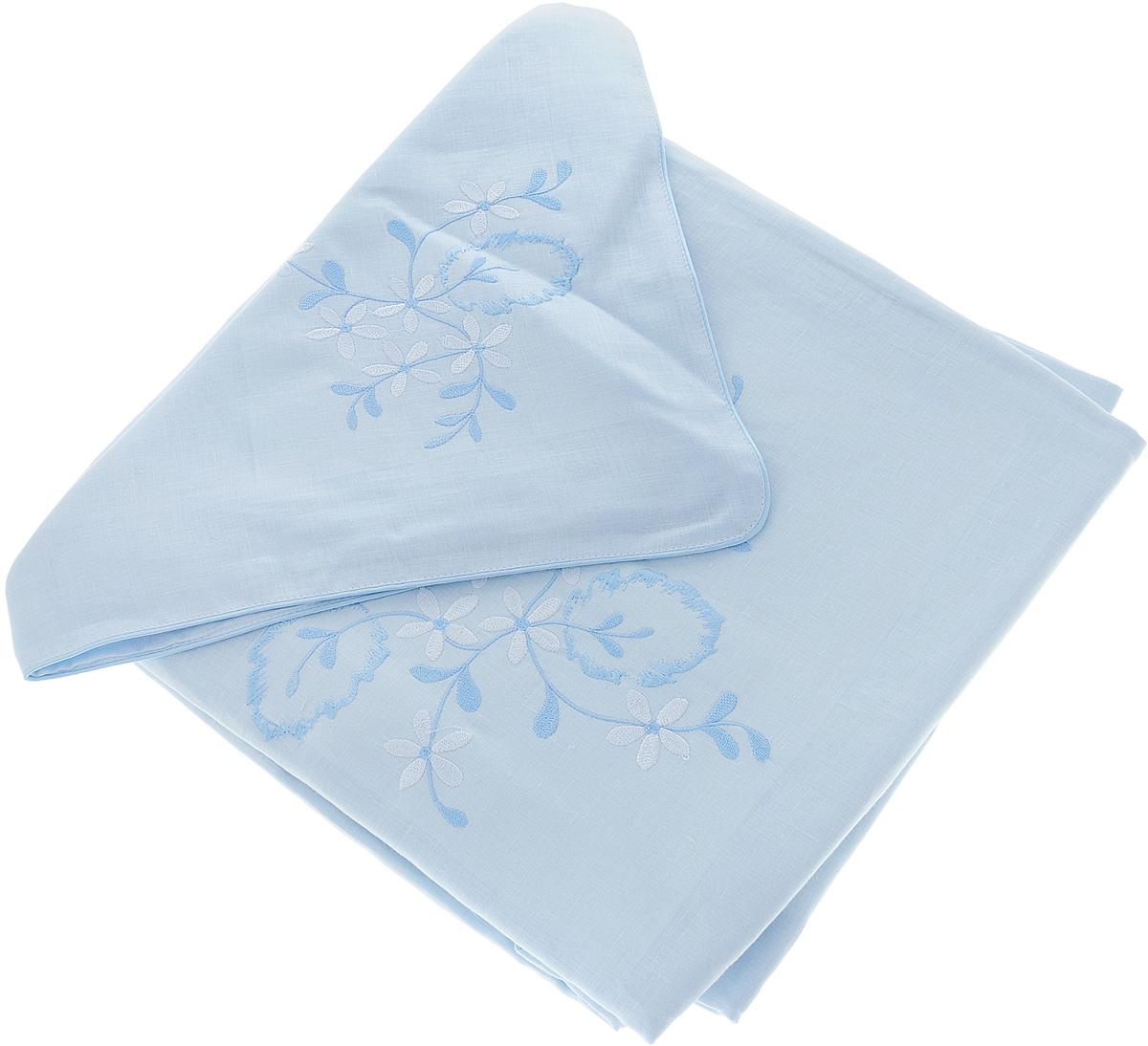 Комплект белья Гаврилов-Ямский Лен, 2-спальный, наволочки 70х70, цвет: голубой5со5939_вышивка голубой цветокКомплект белья Гаврилов-Ямский Лен, 2-спальный, наволочки 70х70, цвет: голубой