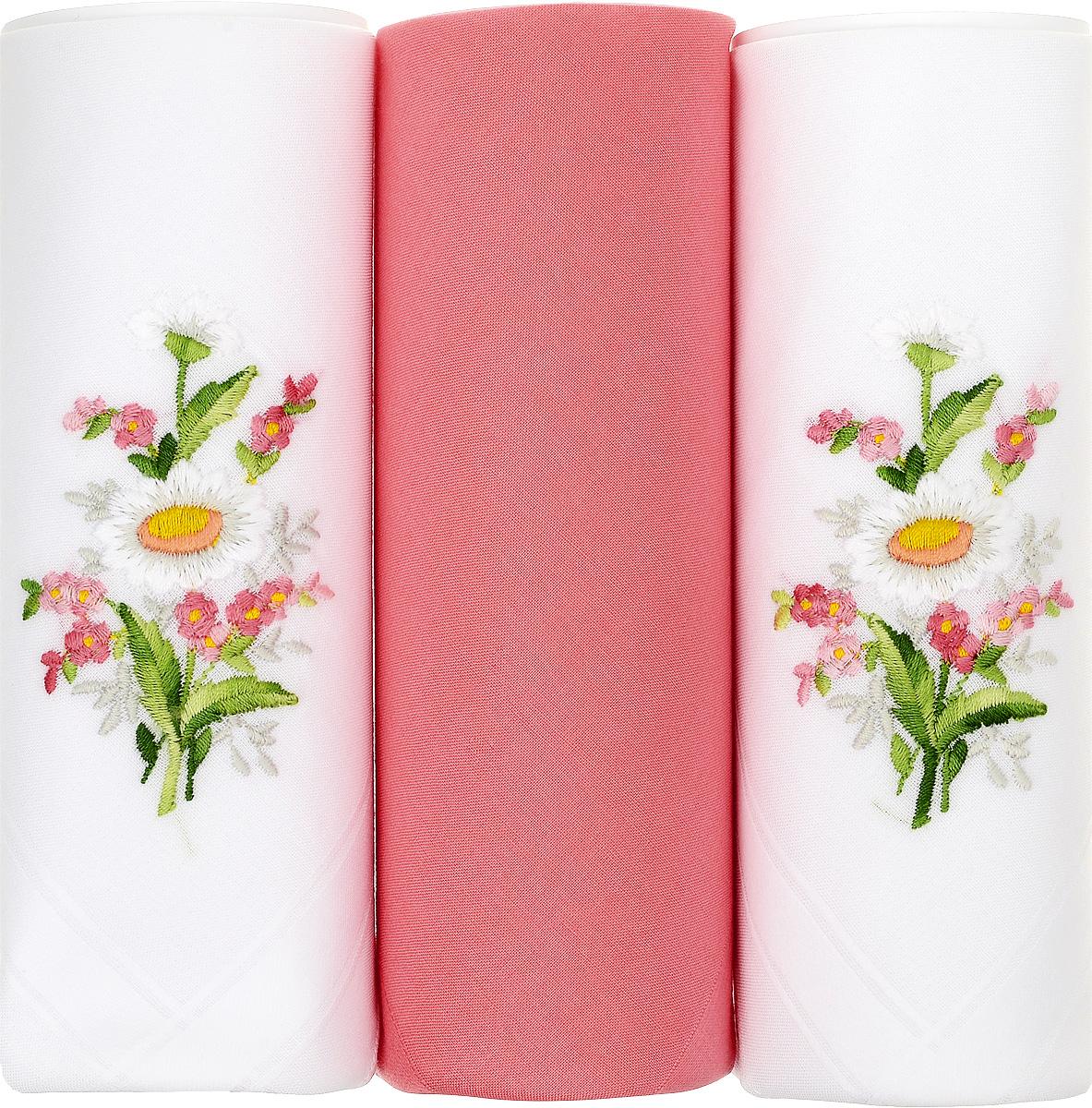 Платок носовой женский Zlata Korunka, цвет: белый, коралловый, 3 шт. 25605-5. Размер 30 см х 30 см25605-5Небольшой женский носовой платок Zlata Korunka изготовлен из высококачественного натурального хлопка, благодаря чему приятен в использовании, хорошо стирается, не садится и отлично впитывает влагу. Практичный и изящный носовой платок будет незаменим в повседневной жизни любого современного человека. Такой платок послужит стильным аксессуаром и подчеркнет ваше превосходное чувство вкуса. В комплекте 3 платка.