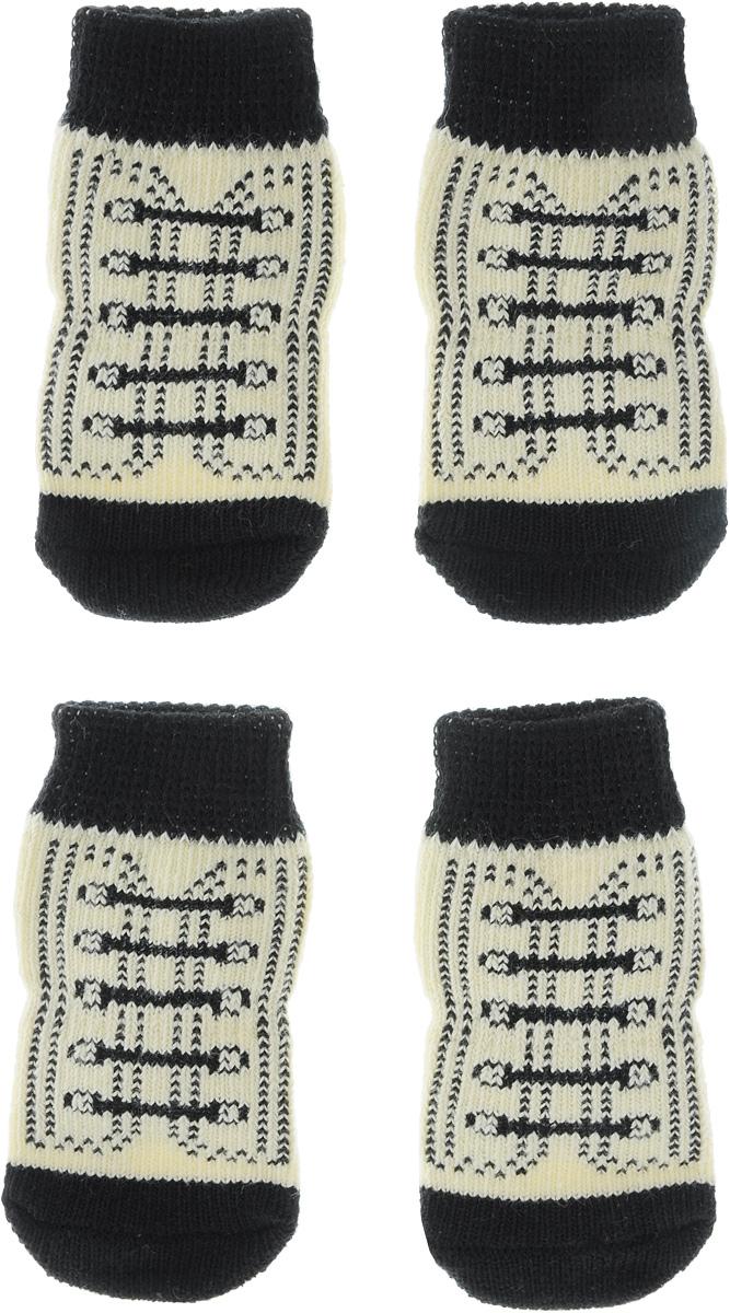 Носки для собак Каскад, цвет: бежевый, черный, 4 шт. Размер M28000148_бежевый, черныйНоски Каскад предназначены для собак. Изделия выполнены из прочной ткани. Носки снабжены прорезиненной подошвой для того, что бы ваш питомец мог без проблем бегать по скользкой поверхности. Носки имеют удобную резинку, которая будет плотно прилегать к ноге питомца. Носки будут служить защитой лап от истирания о твердое покрытие и предохранять лапу после травмы. Конструкция носка анатомически повторяет строение лапы. Размер носка: 3 х 7 см. Количество: 4 шт.