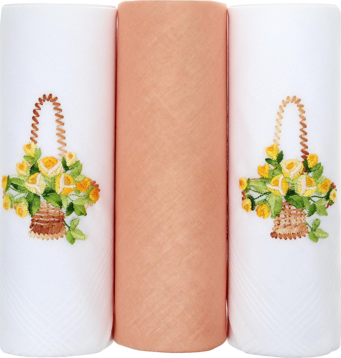 Платок носовой женский Zlata Korunka, цвет: белый, оранжевый. 25605-10. Размер 30 х 30 см, 3 шт25605-10Носовой платок Zlata Korunka изготовлен из высококачественного натурального хлопка, благодаря чему приятен в использовании, хорошо стирается, не садится и отлично впитывает влагу. Практичный и изящный носовой платок будет незаменим в повседневной жизни любого современного человека. Такой платок послужит стильным аксессуаром и подчеркнет ваше превосходное чувство вкуса. В комплекте 3 платка.