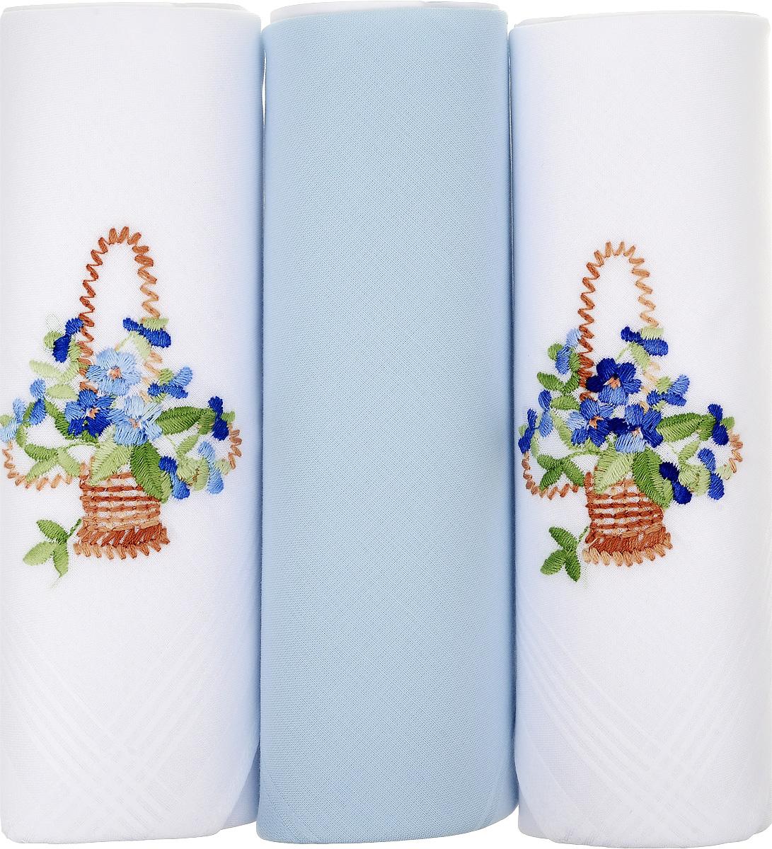 Платок носовой женский Zlata Korunka, цвет: белый, голубой, 3 шт. 25605-4. Размер 30 см х 30 см25605-4Небольшой женский носовой платок Zlata Korunka изготовлен из высококачественного натурального хлопка, благодаря чему приятен в использовании, хорошо стирается, не садится и отлично впитывает влагу. Практичный и изящный носовой платок будет незаменим в повседневной жизни любого современного человека. Такой платок послужит стильным аксессуаром и подчеркнет ваше превосходное чувство вкуса. В комплекте 3 платка.