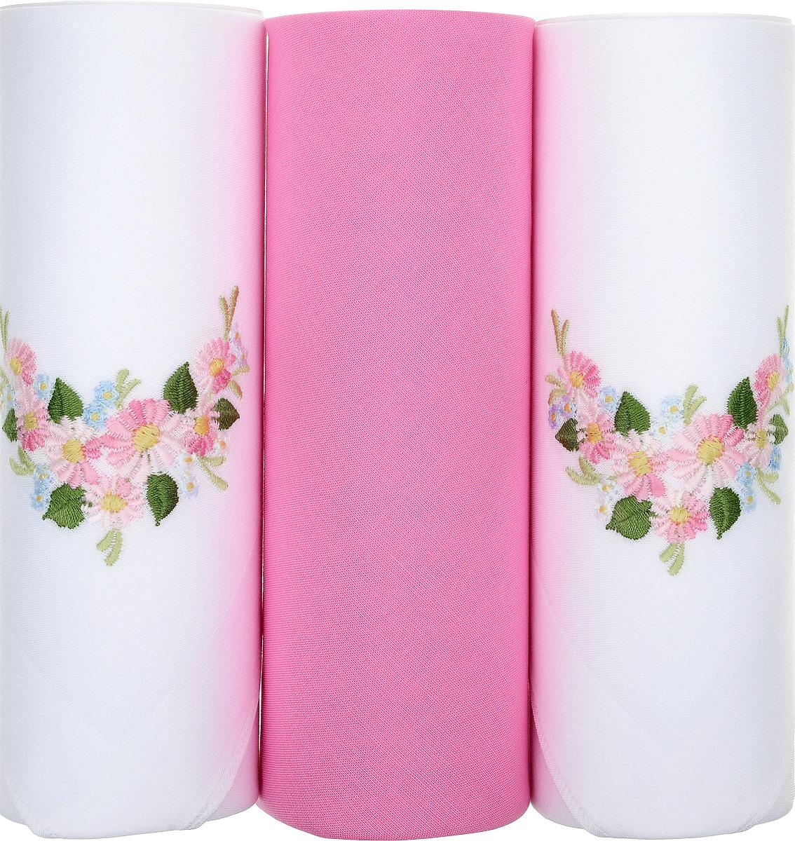 Платок носовой женский Zlata Korunka, цвет: белый, розовый, 3 шт. 25605-19. Размер 30 см х 30 см25605-19Небольшой женский носовой платок Zlata Korunka изготовлен из высококачественного натурального хлопка, благодаря чему приятен в использовании, хорошо стирается, не садится и отлично впитывает влагу. Практичный и изящный носовой платок будет незаменим в повседневной жизни любого современного человека. Такой платок послужит стильным аксессуаром и подчеркнет ваше превосходное чувство вкуса. В комплекте 3 платка.