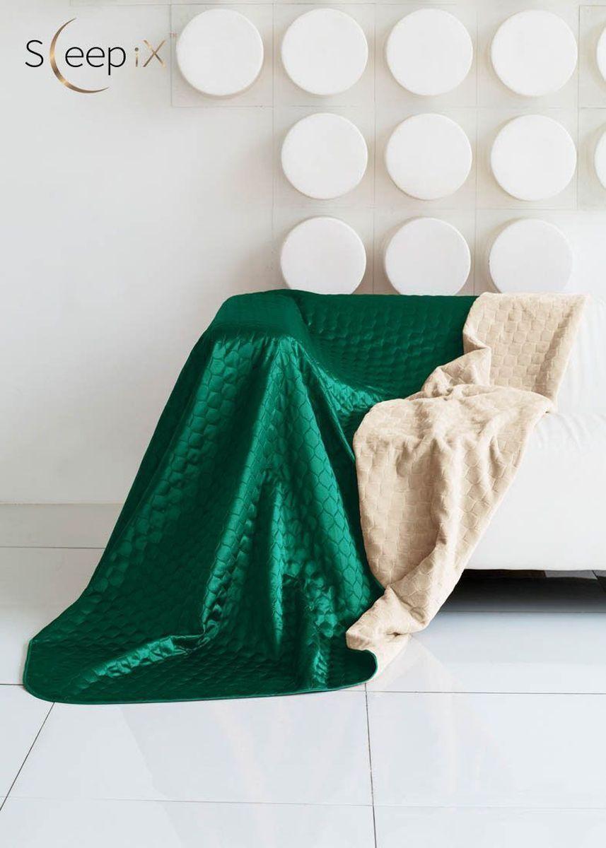 Покрывало Sleep iX Shinen Soft, цвет: молочный, зеленый, 220х240 см. maa214829maa214829Общий размер: евро макси Размер покрывала: 220х240 см Размер наволочек: Без наволочек Материал: Искусственный мех,Атласный шелк Длина ворса: Короткий Наполнитель: Синтепон Состав: 100% полиэстер Отделка: Кант,Стежка Особенность: Двухсторонний Производитель: Sleep iX Cтрана производства: Китай Упаковка: Чемодан ПВХ