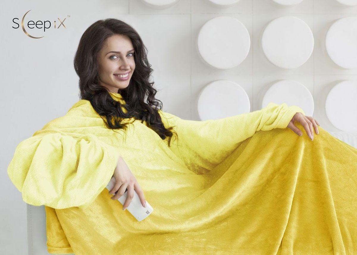 Плед с рукавами Sleep iX Plushy Ombre, цвет: желтый, 150х200 см. pva217149pva217149Общий размер: полутороспальный Размер пледа: 150х200 см Размер наволочек: Без наволочек Материал: Коралловый флис Длина ворса: Короткий Состав: 100% полиэстер Плотность: 260 г/м2 Отделка: Без отделки Особенность: С рукавами Производитель: Sleep iX Cтрана производства: Китай Упаковка: Чемодан ПВХ