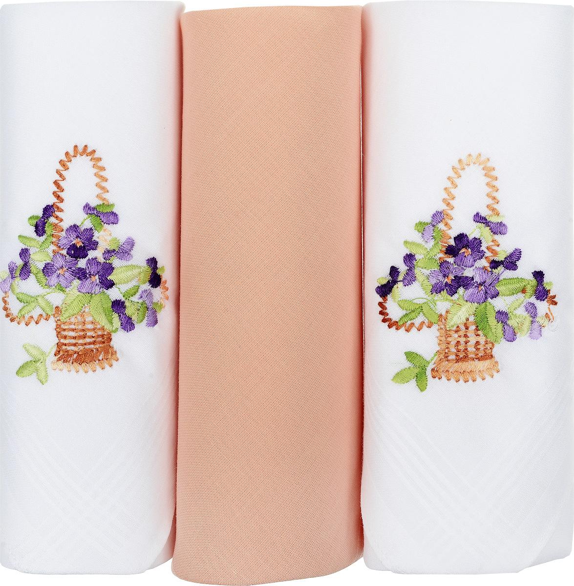 Платок носовой женский Zlata Korunka, цвет: белый, бежевый, 3 шт. 25605-30. Размер 30 см х 30 см25605-30Небольшой женский носовой платок Zlata Korunka изготовлен из высококачественного натурального хлопка, благодаря чему приятен в использовании, хорошо стирается, не садится и отлично впитывает влагу. Практичный и изящный носовой платок будет незаменим в повседневной жизни любого современного человека. Такой платок послужит стильным аксессуаром и подчеркнет ваше превосходное чувство вкуса. В комплекте 3 платка.