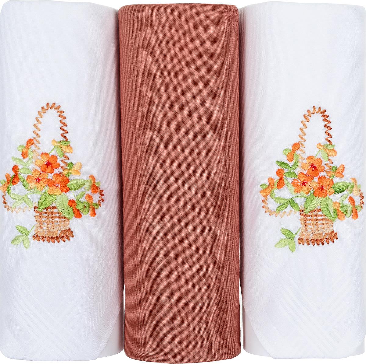 Платок носовой женский Zlata Korunka, цвет: белый, оранжевый, 3 шт. 25605-15. Размер 30 см х 30 см25605-15Небольшой женский носовой платок Zlata Korunka изготовлен из высококачественного натурального хлопка, благодаря чему приятен в использовании, хорошо стирается, не садится и отлично впитывает влагу. Практичный и изящный носовой платок будет незаменим в повседневной жизни любого современного человека. Такой платок послужит стильным аксессуаром и подчеркнет ваше превосходное чувство вкуса. В комплекте 3 платка.