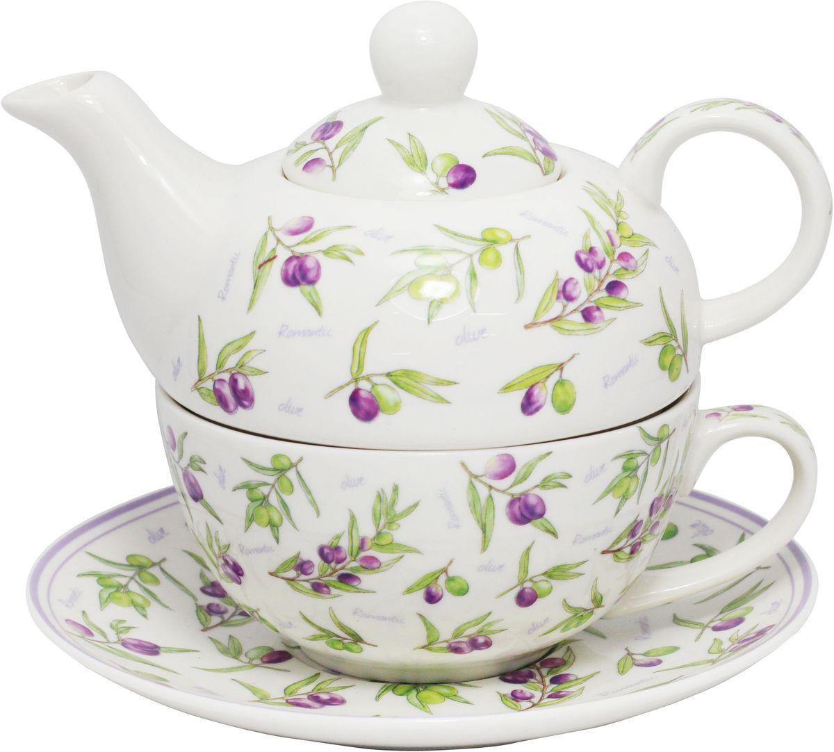 Набор чайный JEWEL Оливки, 3 предметаПКГО0005ПКГО0005 Чайник 400 мл,чашка 300 мл,блюдце 16,7 см Оливки
