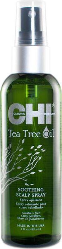 CHI Успокаивающий спрей с маслом чайного дерева для кожи головы, 89млCHITTSS3Спрей Успокаивающий кожу головы, который мгновенно помогает облегчить зуд, раздражение и сухость кожи головы.