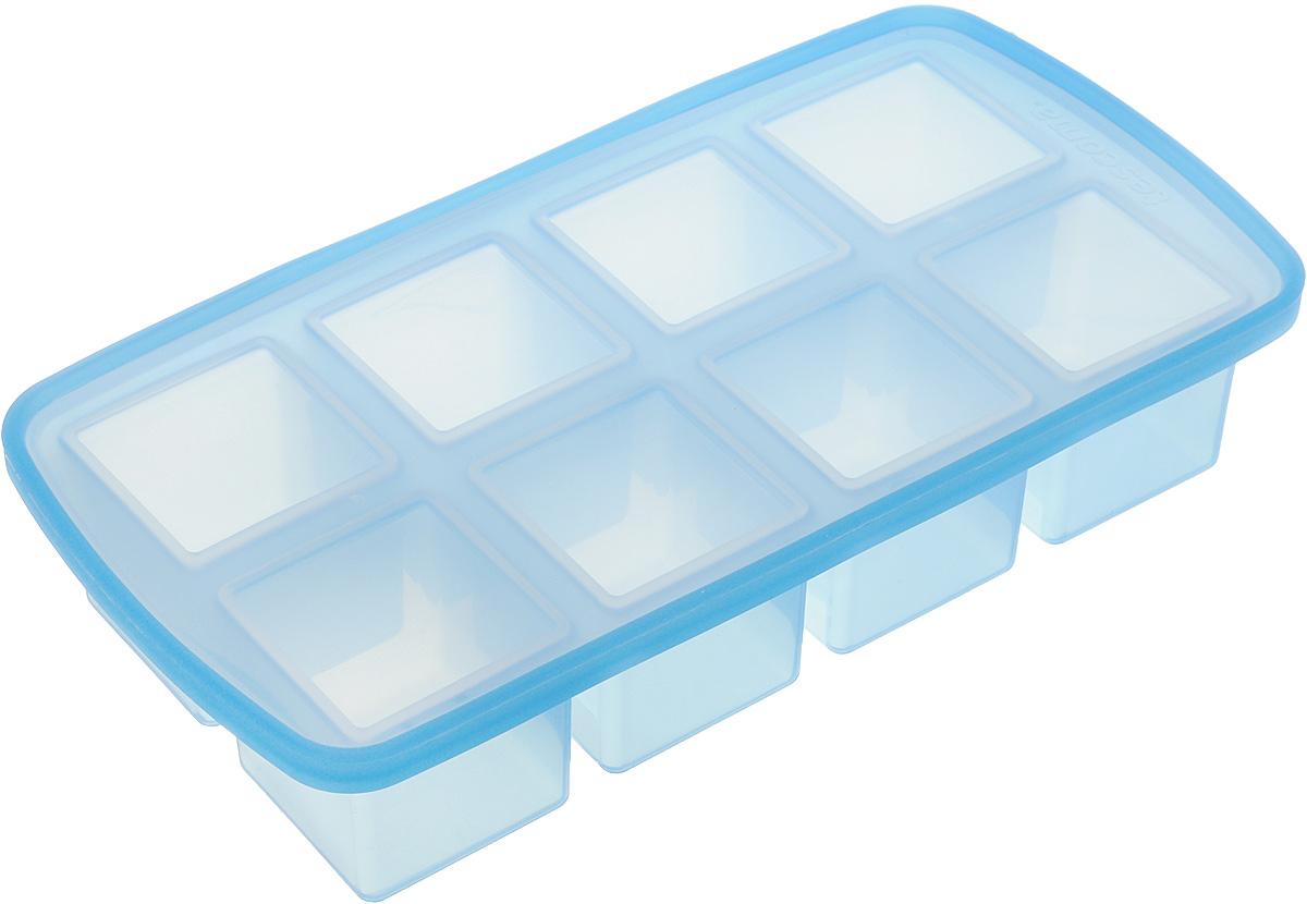 Форма для льда Tescoma myDRINK. Кубики, с крышкой, 8 ячеек308904Форма для льда Tescoma myDRINK. Кубики, изготовленная из высококачественного силикона, содержит 8 ячеек в виде кубиков. Пластиковая крышка предотвратит разлив воды и защитит лед от запахов других продуктов в морозильной камере. В формочки при заморозке воды можно помещать ягодки, такие льдинки не только оживят коктейль, но и добавят радостного настроения гостям на празднике! Изделие можно мыть в посудомоечной машине. Температура заморозки до -18°С. Количество ячеек: 8 шт. Размер формы: 25 х 13 х 5 см. Размер ячейки: 4,5 х 4,5 х 4 см.
