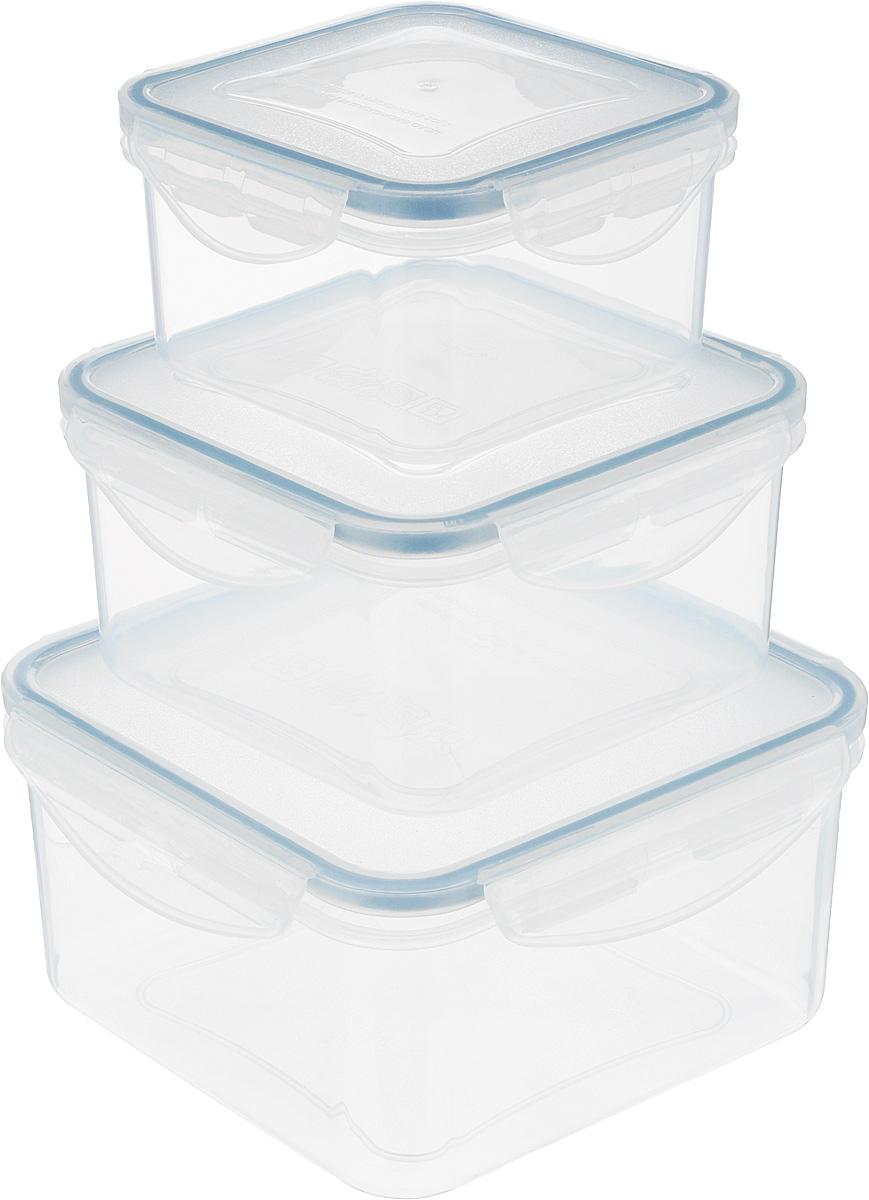 Контейнер Tescoma Freshbox, 3 шт. 892040892040Набор пластиковых контейнеров Tescoma Freshbox подходит для переноски и хранения любых продуктов питания. Благодаря многообразию объемов, вы можете подобрать свой. Изделия абсолютно герметичны, способны выдержать сильные перепады температур. Пластик и силикон, из которых изготовлены контейнеры, переносят экстремальные температурные режимы в диапазоне от -18°C до +110°C. Такие контейнеры оптимально сохраняют вкус, аромат и внешний вид продуктов. Подходят для холодильника, морозильных камер, микроволновой печи и посудомоечной машины. Размер контейнеров (с учетом крышек): 10,5 х 10,5 х 6 см; 12,5 х 12,5 х 6,5 см; 15,5 х 15,5 х 8 см. Объем контейнеров: 0,4 л; 0,7 л; 1,2 л.