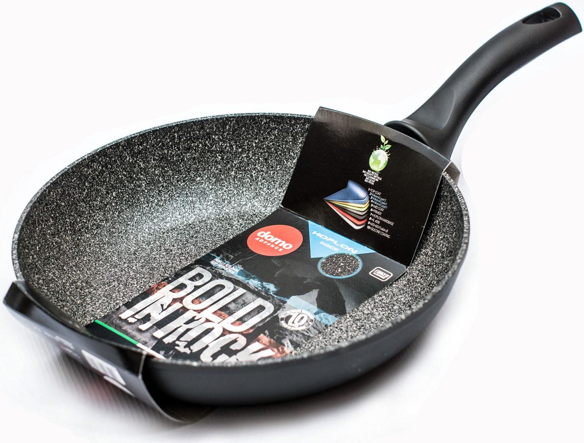 Сковорода Domo Bold in Rock, с антипригарным покрытием, цвет: серый. Диаметр 26 смBR2261Сковорода литая, с антипригарным покрытием, диаметр 26 см