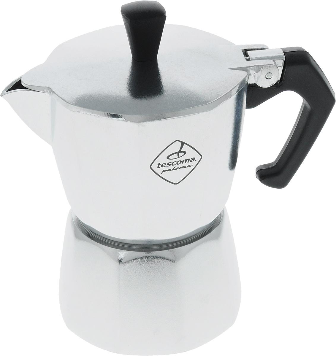 Кофеварка Tescoma Paloma, на 2 чашки647002Кофеварка Tescoma Paloma идеально подходит для приготовления традиционного кофе экспрессо. Кофеварка изготовлена из гигиенически безопасного алюминия (EN 601). Эргономичная рукоятка выполнена из жароупорной пластмассы, поэтому не обжигает руки. Кофеварка очень проста в использовании: - наполните основание водой, - насыпьте туда кофе, - закройте, - поставьте на плиту, - сварите кофе, - подавайте на стол. Объем рассчитан на приготовление двух чашек кофе. Стильный дизайн кофеварки Tescoma сделает ее ярким элементом интерьера вашего дома! Можно использовать на газовых, электрических, керамических плитах. Нельзя мыть в посудомоечной машине.