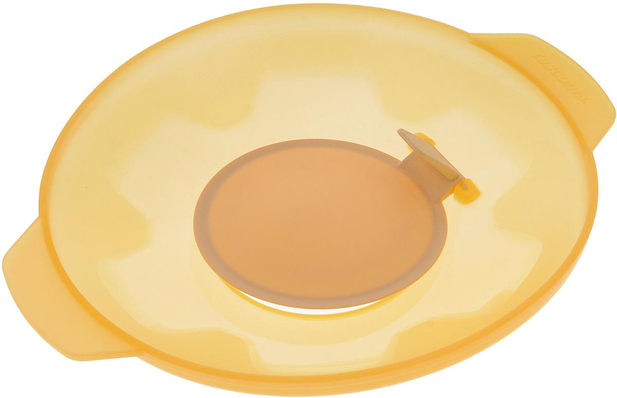 Крышка универсальная Tescoma Fusion, силиконовая, цвет: желтый, диаметр 27 см638459Универсальная крышка Tescoma Fusion выполнена из первоклассного жаропрочного силикона, который выдерживает температуру от -40 до +230°С. Изделие предназначено для воздухонепроницаемого закрывания всей стандартной посуды с плоскими краями с диаметром меньшим, чем диаметр самой крышки. Крышка подходит для использования во всех видах духовок, микроволновой печи. Можно мыть в посудомоечной машине. Крышка подходит для кастрюль диаметром 16-24 см. Размер крышки (с учетом ручек): 32 х 27 см.