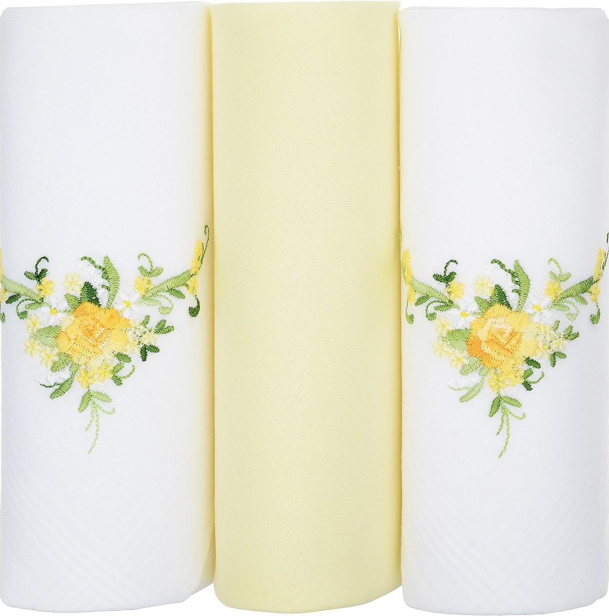 Платок носовой женский Zlata Korunka, цвет: белый, желтый, 3 шт. 25605-13. Размер 30 см х 30 см25605-13Небольшой женский носовой платок Zlata Korunka изготовлен из высококачественного натурального хлопка, благодаря чему приятен в использовании, хорошо стирается, не садится и отлично впитывает влагу. Практичный и изящный носовой платок будет незаменим в повседневной жизни любого современного человека. Такой платок послужит стильным аксессуаром и подчеркнет ваше превосходное чувство вкуса. В комплекте 3 платка.