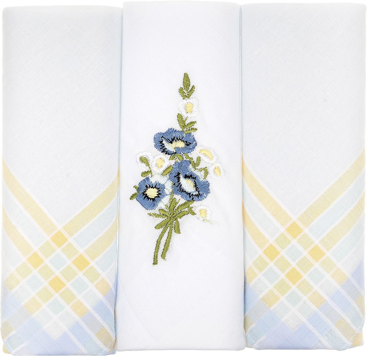 Платок носовой женский Zlata Korunka, цвет: белый, светло-голубой, желтый, 3 шт. 90329-47. Размер 29 см х 29 см90329-47Небольшой женский носовой платок Zlata Korunka изготовлен из высококачественного натурального хлопка, благодаря чему приятен в использовании, хорошо стирается, не садится и отлично впитывает влагу. Практичный и изящный носовой платок будет незаменим в повседневной жизни любого современного человека. Такой платок послужит стильным аксессуаром и подчеркнет ваше превосходное чувство вкуса. В комплекте 3 платка.