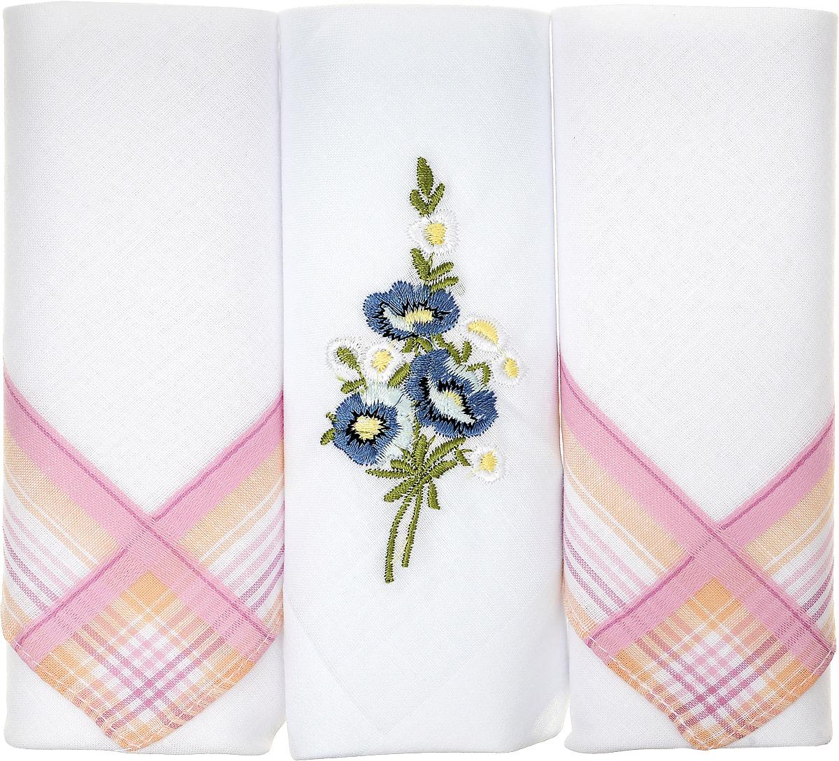 Платок носовой женский Zlata Korunka, цвет: белый, розовый, 3 шт. 90329-38. Размер 29 см х 29 см90329-38Небольшой женский носовой платок Zlata Korunka изготовлен из высококачественного натурального хлопка, благодаря чему приятен в использовании, хорошо стирается, не садится и отлично впитывает влагу. Практичный и изящный носовой платок будет незаменим в повседневной жизни любого современного человека. Такой платок послужит стильным аксессуаром и подчеркнет ваше превосходное чувство вкуса. В комплекте 3 платка.