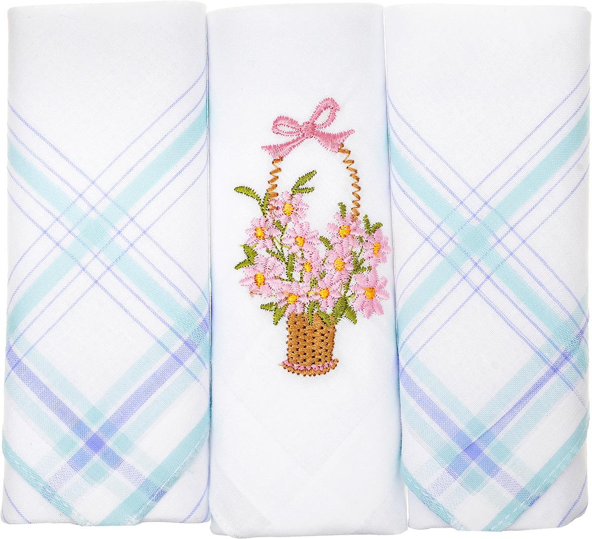 Платок носовой женский Zlata Korunka, цвет: белый, бирюзовый, 3 шт. 90329-55. Размер 29 см х 29 см90329-55Небольшой женский носовой платок Zlata Korunka изготовлен из высококачественного натурального хлопка, благодаря чему приятен в использовании, хорошо стирается, не садится и отлично впитывает влагу. Практичный и изящный носовой платок будет незаменим в повседневной жизни любого современного человека. Такой платок послужит стильным аксессуаром и подчеркнет ваше превосходное чувство вкуса. В комплекте 3 платка.