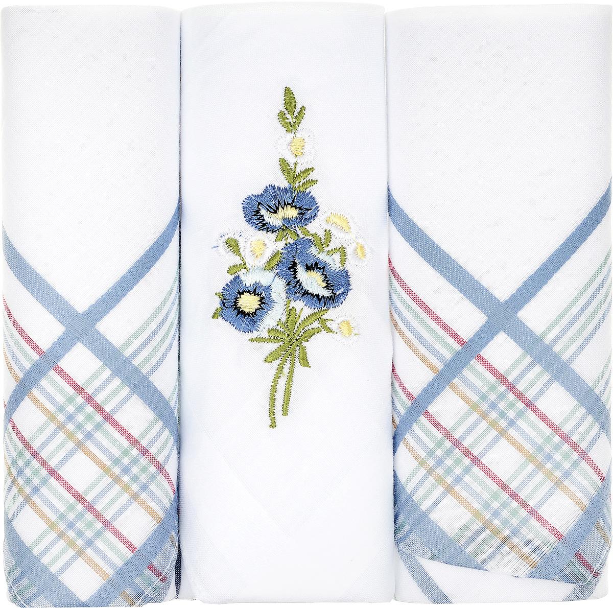 Платок носовой женский Zlata Korunka, цвет: белый, синий, 3 шт. 90329-51. Размер 29 см х 29 см90329-51Небольшой женский носовой платок Zlata Korunka изготовлен из высококачественного натурального хлопка, благодаря чему приятен в использовании, хорошо стирается, не садится и отлично впитывает влагу. Практичный и изящный носовой платок будет незаменим в повседневной жизни любого современного человека. Такой платок послужит стильным аксессуаром и подчеркнет ваше превосходное чувство вкуса. В комплекте 3 платка.