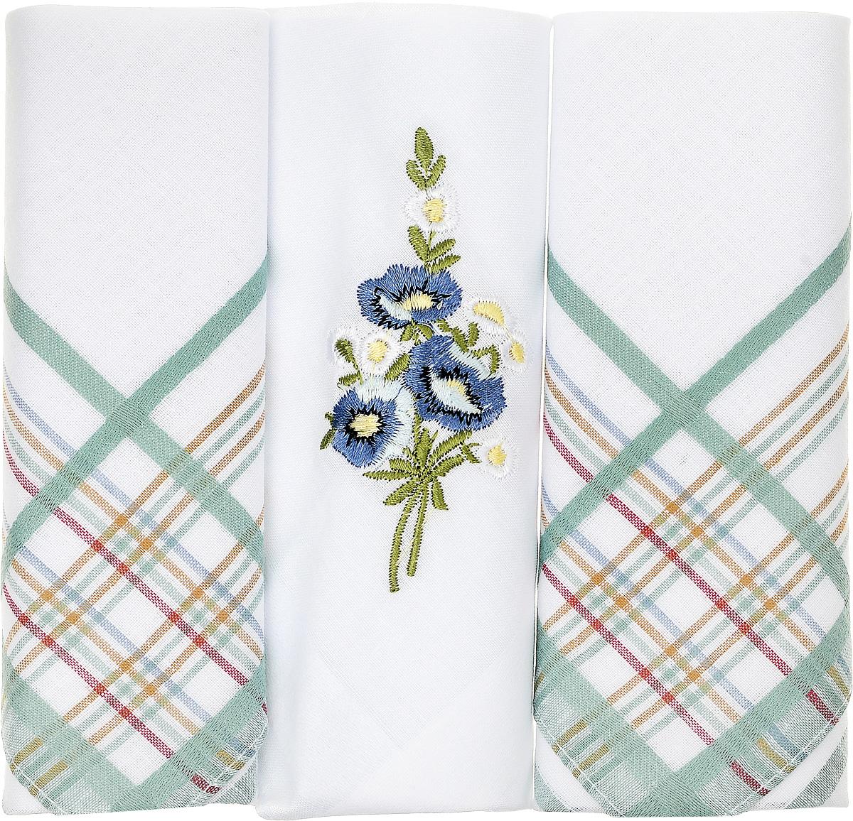 Платок носовой женский Zlata Korunka, цвет: белый, зеленый, 3 шт. 90329-52. Размер 29 см х 29 см90329-52Небольшой женский носовой платок Zlata Korunka изготовлен из высококачественного натурального хлопка, благодаря чему приятен в использовании, хорошо стирается, не садится и отлично впитывает влагу. Практичный и изящный носовой платок будет незаменим в повседневной жизни любого современного человека. Такой платок послужит стильным аксессуаром и подчеркнет ваше превосходное чувство вкуса. В комплекте 3 платка.