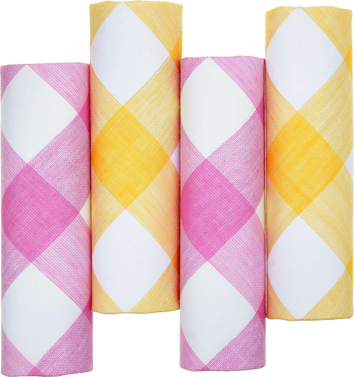 Платок носовой женский Zlata Korunka, цвет: белый, розовый, желтый. 71420-8. Размер 29 х 29 см, 4 шт71420-8Носовой платок Zlata Korunka изготовлен из высококачественного натурального хлопка, благодаря чему приятен в использовании, хорошо стирается, не садится и отлично впитывает влагу. Практичный и изящный носовой платок будет незаменим в повседневной жизни любого современного человека. Такой платок послужит стильным аксессуаром и подчеркнет ваше превосходное чувство вкуса. В комплекте 4 платка.