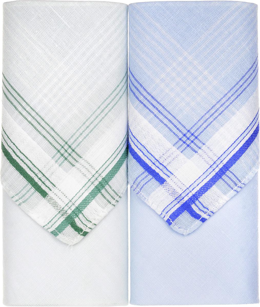 Платок носовой женский Zlata Korunka, цвет: голубой, зеленый, 2 шт. 71225-14. Размер 34 см х 34 см71225-14Небольшой женский носовой платок Zlata Korunka изготовлен из высококачественного натурального хлопка, благодаря чему приятен в использовании, хорошо стирается, не садится и отлично впитывает влагу. Практичный и изящный носовой платок будет незаменим в повседневной жизни любого современного человека. Такой платок послужит стильным аксессуаром и подчеркнет ваше превосходное чувство вкуса. В комплекте 2 платка.