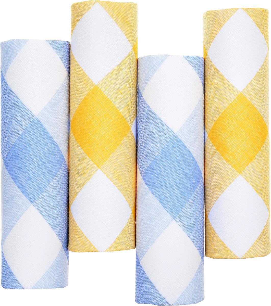 Платок носовой женский Zlata Korunka, цвет: белый, желтый, голубой. 71420-16. Размер 29 х 29 см, 4 шт71420-9Носовой платок Zlata Korunka изготовлен из высококачественного натурального хлопка, благодаря чему приятен в использовании, хорошо стирается, не садится и отлично впитывает влагу. Практичный и изящный носовой платок будет незаменим в повседневной жизни любого современного человека. Такой платок послужит стильным аксессуаром и подчеркнет ваше превосходное чувство вкуса. В комплекте 4 платка.