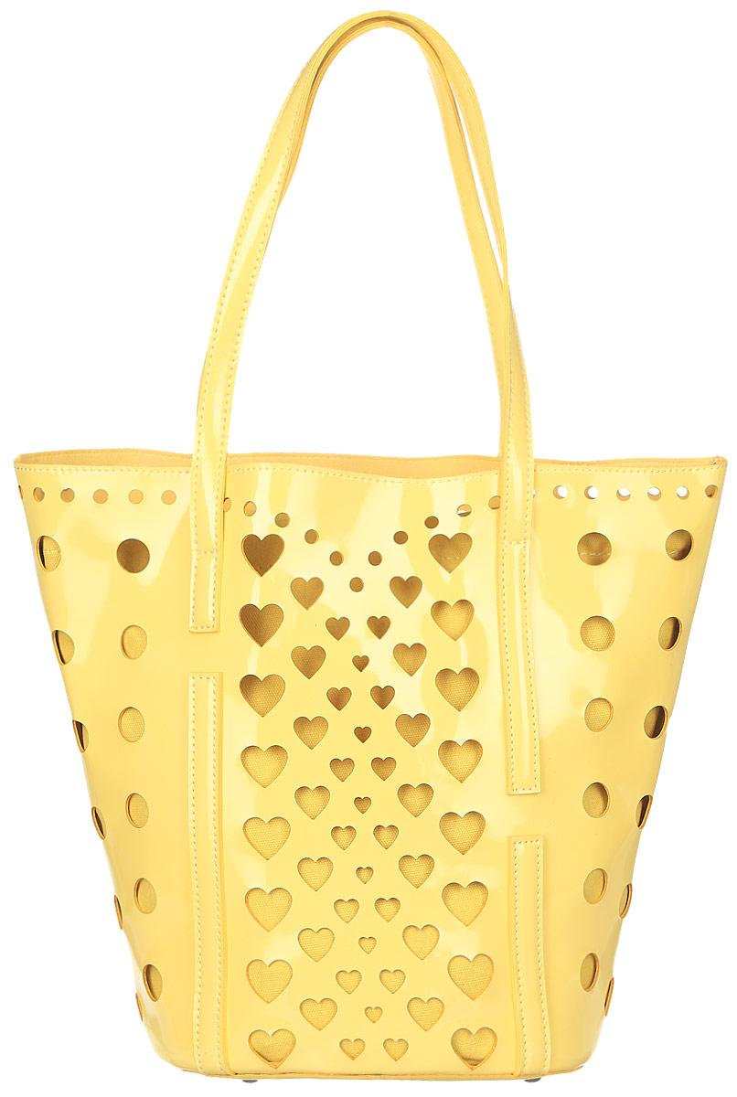 Сумка женская Vittorio Richi, цвет: желтый. 913118913118 gialloСумка из экокожи с перфорацией. Внутри текстильный мешок на затяжках. Высота ручек 21см.