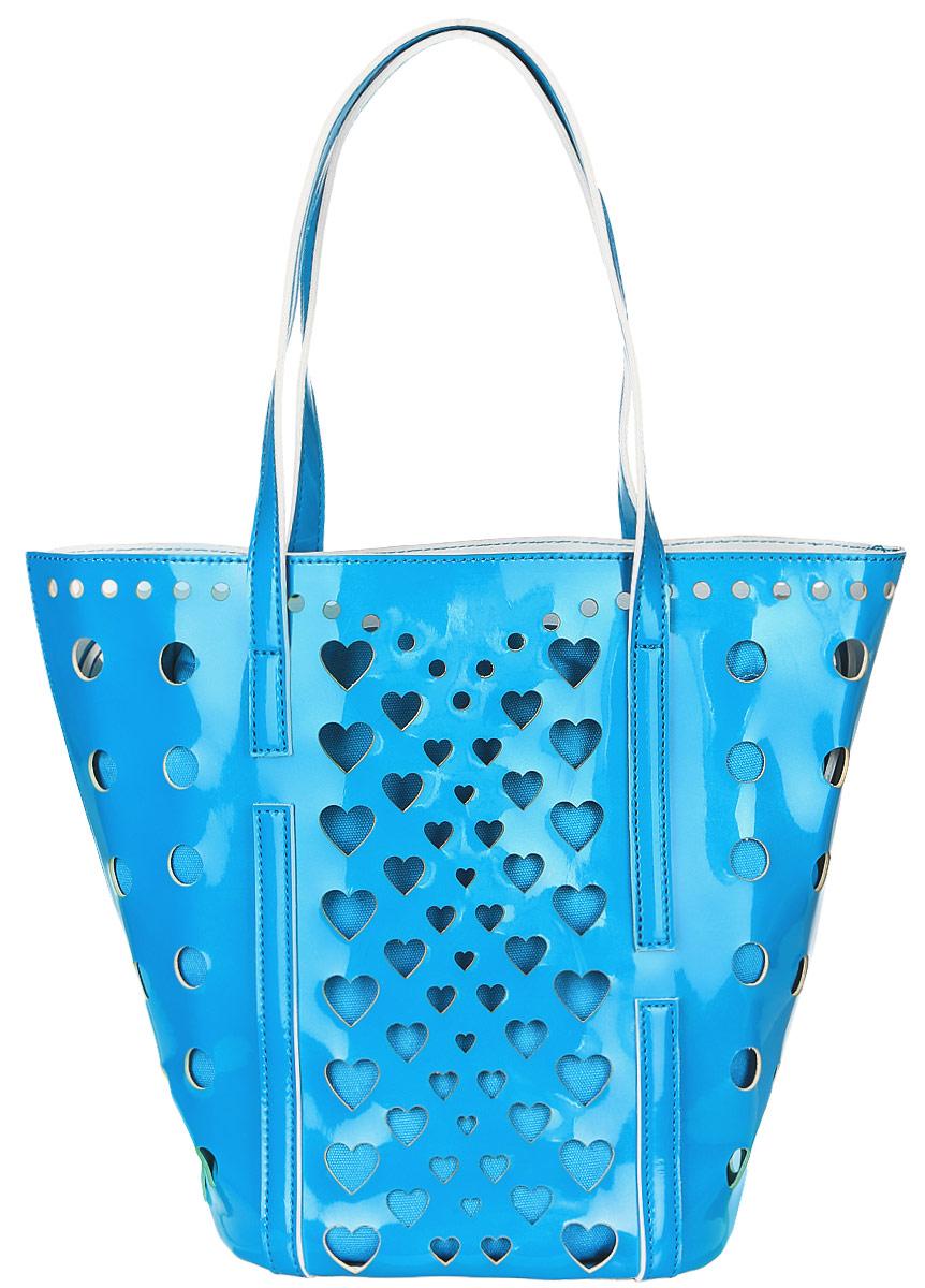 Сумка женская Vittorio Richi, цвет: голубой. 913118913118 azzurroСумка из экокожи с перфорацией. Внутри текстильный мешок на затяжках. Высота ручек 21см.