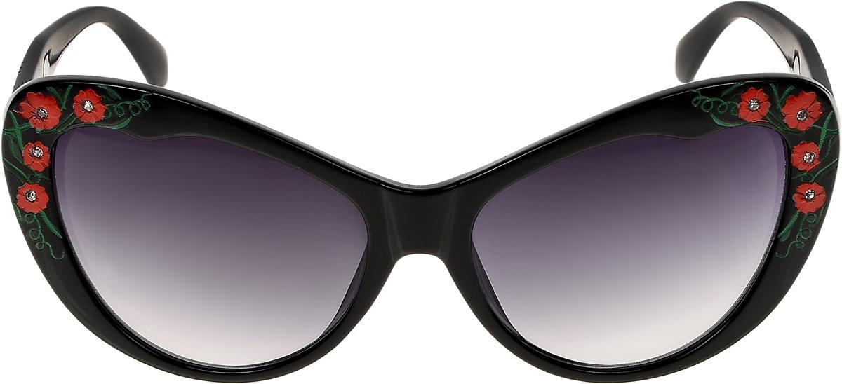 Очки солнцезащитные женские Vittorio Richi, цвет: черный. ОС1623с1цветок/17fОС1623с1цветок/17fОчки солнцезащитные Vittorio Richi это знаменитое итальянское качество и традиционно изысканный дизайн.