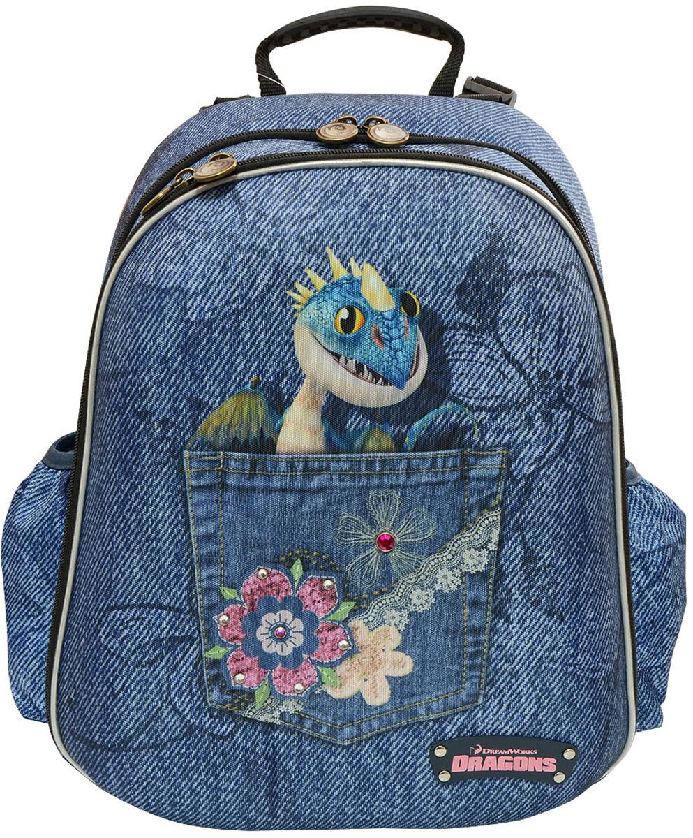 Action! Рюкзак детский Dragons цвет синийDR-ASB4614/2Лицензионный дизайн КАК ПРИРУЧИТЬ ДРАКОНА-2.Для девочек Рюкзак школьный, жесткий каркасный, с анатомический рельефной спинкой, с многоуровневой с-мой регулировки задней спинки. Рюкзак выполнен в современном сочетании стилей гламура и джинсового, с оригинальным дизайном на лицевой стороне в виде стразиков и бейджика из иск.кожи. Рюкзак имеет 2 просторных жетских отдела на молниях.Внутри одного отделения имеются 2 разделителя для книг и тетрадей.Внутри другого отделения имеется органайзер для письменных принаделжностей, телефона и др. мелочей.Также имеется пластиковое окошко и большой открытй сетчатый карман.По всему периметру лицевой стороны проходит светоотражающая полоска безопасности. Боковые стороны и карманы имеют светоотражающие полоски безопасности. Плотные вентилируемые задние лямки реулурются как снизу, так и сверух и имеют свтоотражающие полоски безопасности. Верхняя тканевая ручка имеет резиновую накладку для удобства носки.Дно имеет 2 резиновые антискользящие накладки....