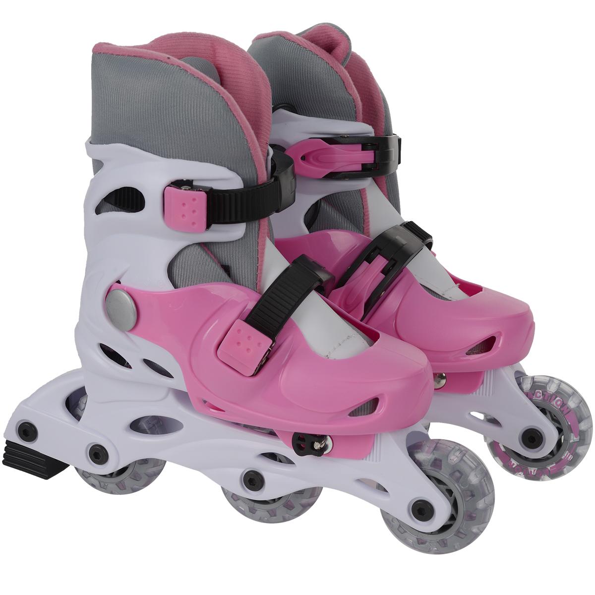 Коньки роликовые Action, раздвижные, цвет: белый, розовый. PW-120. Размер 31/34PW-120_1Раздвижные коньки Action - это роликовые коньки любительского класса для детей и постоянно растущих подростков, предназначены для занятий спортом и активного отдыха. Коньки имеют пластиковый ботинок с раздвижным механизмом, что обеспечивает хорошую посадку и пластичность, а для еще более комфортного катания ботинки коньков оснащены двумя клипсами с фиксаторами. Облегченная, анатомически облегающая конструкция обеспечивает улучшенную боковую поддержку и полный контроль над движением. Модель снабжена системой Parallel Wheels: возможность переставлять задние колеса в два ряда для большей устойчивости. Второе колесо с конца можно снять и разместить на оси параллельно с последним колесом. Для перестановки колес в комплект входит необходимый набор осей и ключ-шестигранник. Рама изготовлена из пластика, а колеса из полиуретана с 608Z. Диаметр колес 64 мм. Жесткость колеса: 82А. Тип фиксации: две клипсы с фиксаторами. Максимальный вес пользователя: 40 кг. В каждой модели...