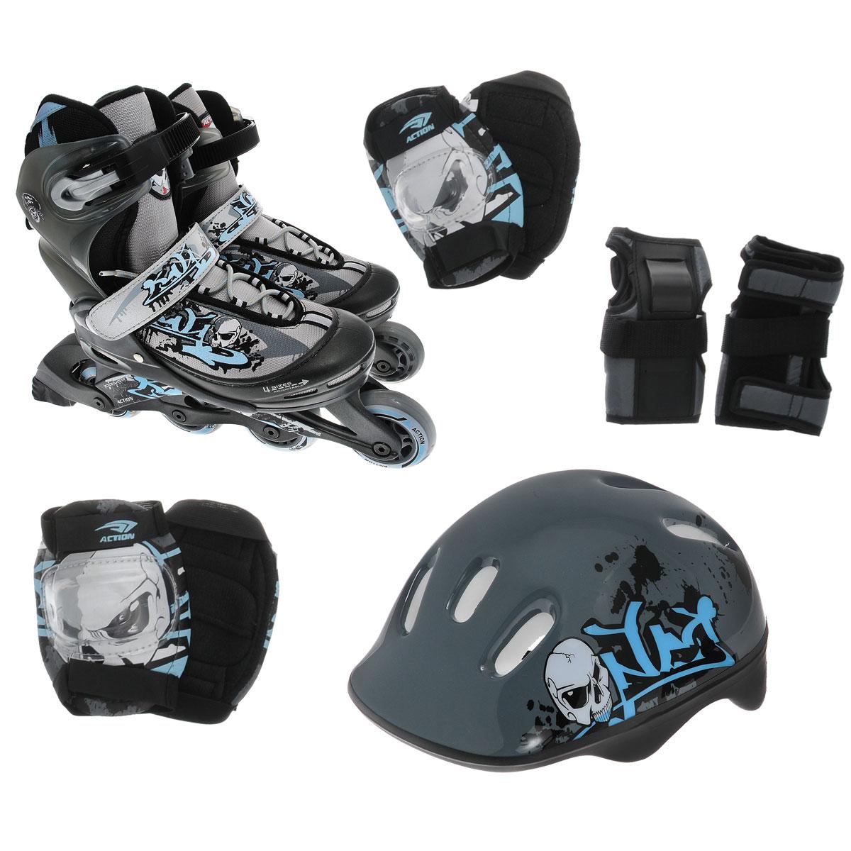 Комплект Action: коньки роликовые, шлем, защита, цвет: серый, голубой. PW-117С. Размер 26/29PW-117СРаздвижные роликовые коньки Action предназначены для активного отдыха. Коньки имеют высокоэластичные и износостойкие колеса жесткостью 82А. Мягкий комбинированный ботинок из воздухопроницаемого сетчатого материала, система шнуровки, бакля (жесткое крепление) и пяточный ремень обеспечивают надежную фиксацию ноги во время катания. Рычажная система регулировки размера. Ролики оснащены тормозом. Рама изготовлена из композита, а колеса с подшипниками АВЕС-5 - из ПВХ (64 мм). К роликам прилагается полный комплект защиты: шлем (из плотного пенополистирола с верхним покрытием из пластика и отверстиями для вентиляции головы), защита рук, коленей, локтей. Двухкомпонентная система с внутренними вставками поглощает энергию удара, снимает нагрузку с суставов и снижает риск получения травм. Все это упаковано в специальную сумку-переноску-рюкзак с прозрачными окном, боковым карманом и регулируемыми лямками. Роликовые коньки - это прекрасная возможность активного время...