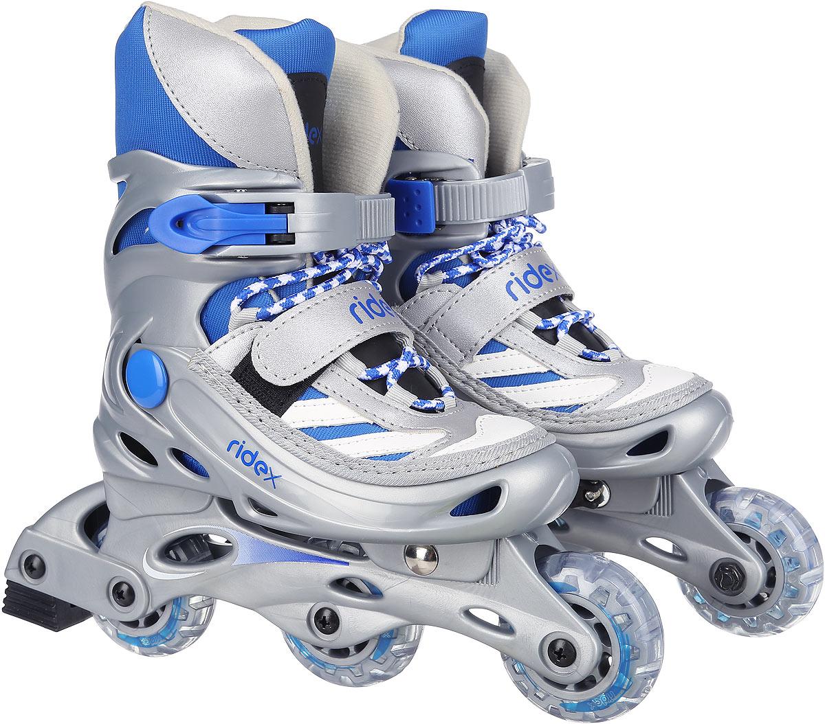 Коньки роликовые Ridex Scout, раздвижные, цвет: серый, голубой, белый. УТ-00008094. Размер 39/42