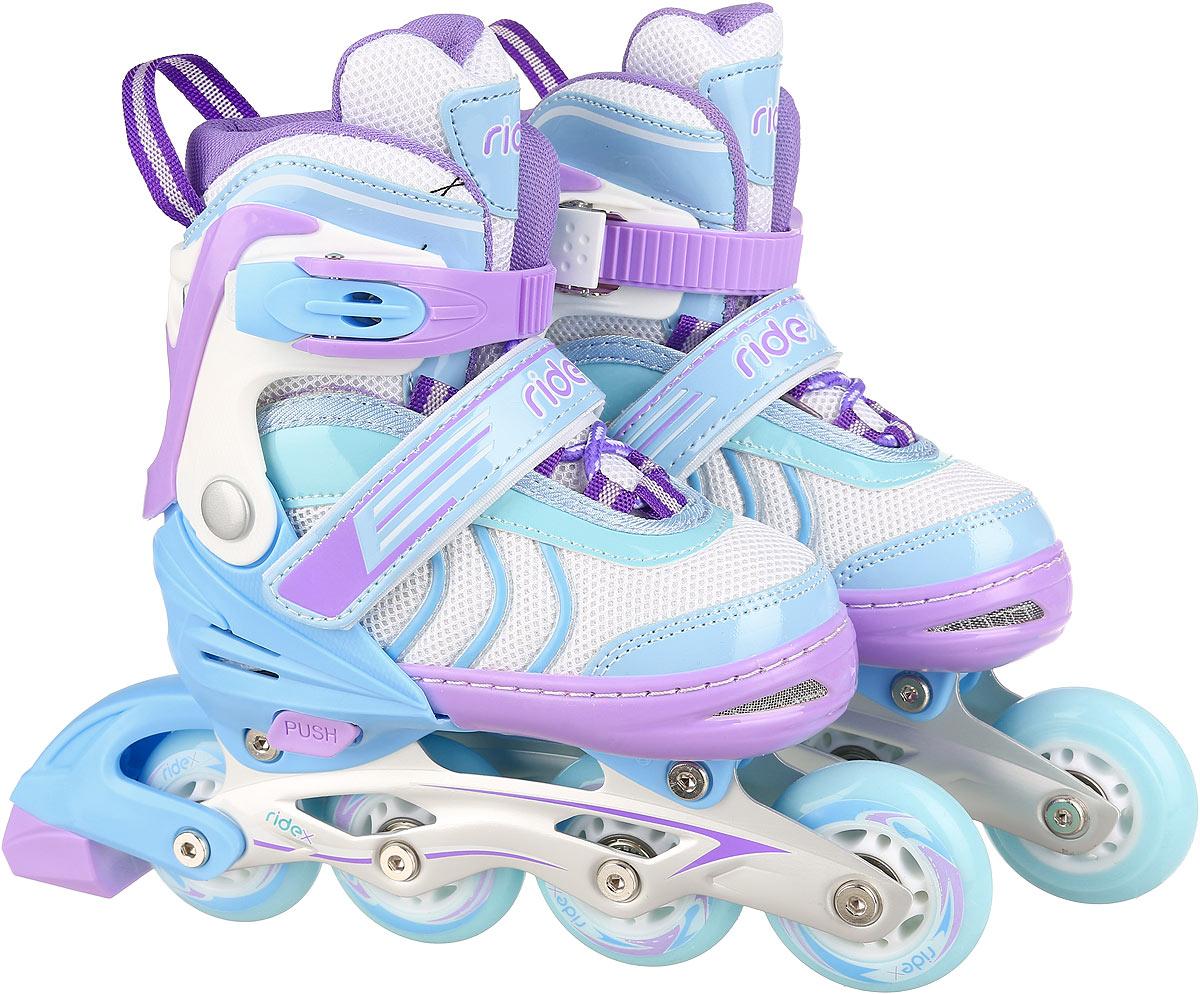 Коньки роликовые раздвижные Ridex Sweety, цвет: белый, голубой, сиреневый, бирюзовый. УТ-00008110. Размер 38/41